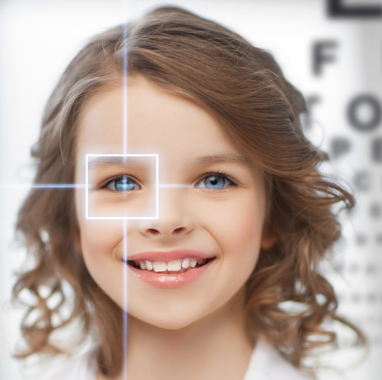 cute girl with eye chart lasik child kid